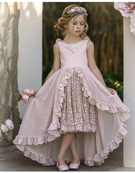 Pink High Low Jewel Neck Girls Pageant Dress with Lace Skirt FG1010