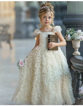 Ivory Ruffled Square Neckline Flower Girl Dress with Cap Sleeves FG1011
