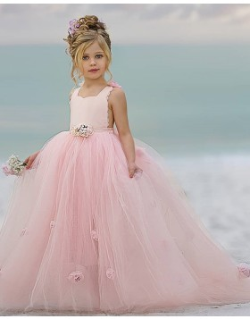 Pink Scoop Ball Gown Flower Girl Dress with Handmade Flowers FG1012
