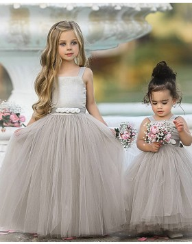 Grey Square Neckline Tulle Pleated Flower Girl Dress FG1013