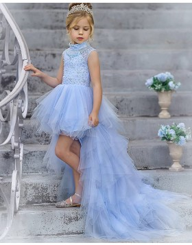 High Neck Light Blue Beading High Low Tulle Pageant Dress for Girls FG1014