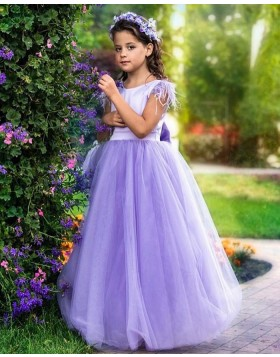Lavender Jewel Tulle A-line Flower Girl Dress with Cap Sleeves FG1015