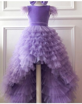 High Low Lavender Ruffled Flower Girl Dress with Cap Sleeves FG1016