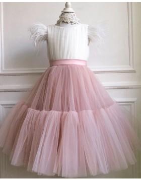 Ruffled Tulle White & Pink Flower Girl Dress with Cap Sleeves FG1017