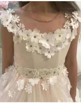 White Sheer Neck Flower Girl Dress with Handmade Flowers FG1018
