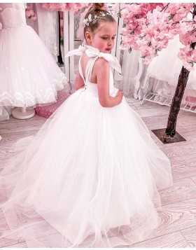 A-line White Ruched Tulle Flower Girl Dress FG1019