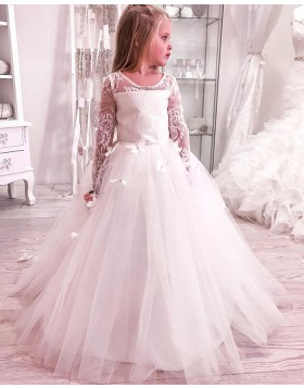 Lace Boidce Scoop Handmade Butterflies Flower Girl Dress with Long Sleeves FG1020