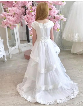 White Jewel Neck First Communion Dress with Layered Skirts FG1021