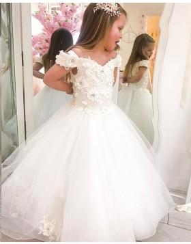 White Tulle V-neck Flower Girl Dress with Handmade Flowers FG1023