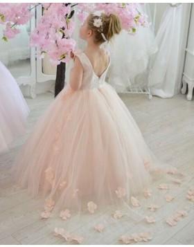 V-neck Tulle Pink Flower Girl Dress with Handmade Flowers FG1025