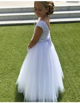 A-line Jewel Beading White Flower Girl Dress with Belt FG1028