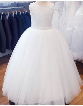 Lace Bodice Jewel White Tulle Flower Girl Dress with Belt FG1029