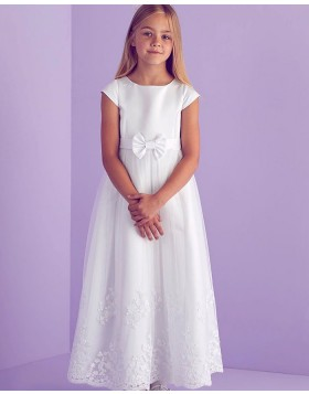 Satin Jewel Neckline Appliqued First Communion Dress FG1031