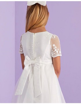 Lace Bodice Tulle Jewel Neckline White Communion Dress with Short Sleeves FG1032