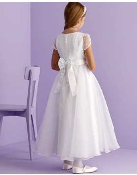White Jewel Neckline Beading Tulle First Communion Dress with Short Sleeves FG1033