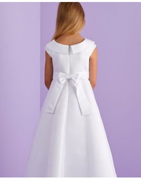 White Satin Jewel Neckline A-line First Communion Dress with Cap Sleeves FG1035