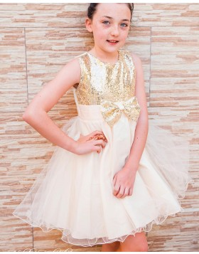 Sequin Bodice Jewel Neckline Flower Girl Dress with Bowknot FG1036