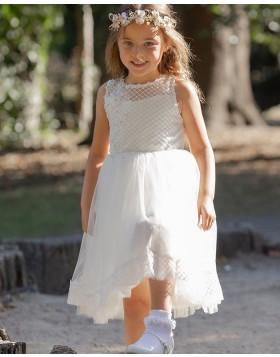 Lace Bodice Jewel Neckline White Tulle Flower Girl Dress FG1037