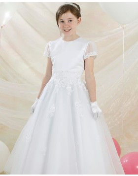 Round Neckline White Applique A-line First Communion Dress with Short Sleeves FG1038