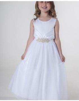 White Satin Scoop Neckline Flower Girl Dress with Belt FG1040