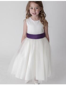 Ivory Jewel Neckline Flower Girl Dress with Sashes FG1041
