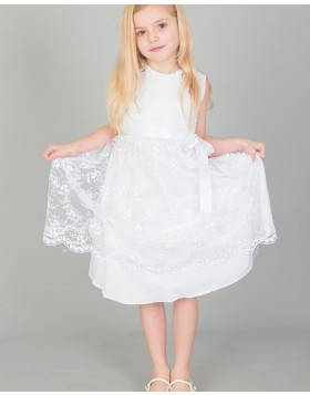 Lace White Jewel Neckline Flower Girl Dress with Sashes FG1043