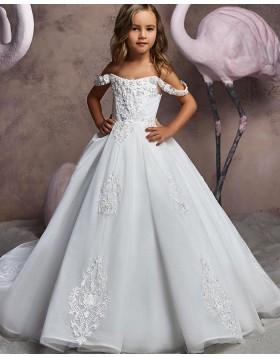 Lace Applique V-neck White Flower Girl Dress FG1046