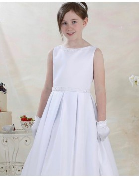 Beading White Jewel Neckline Satin First Communion Dress FG1048