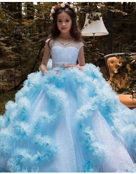 Lace Ruffled V-neck Pageant Dress with Beading Belt FG1049