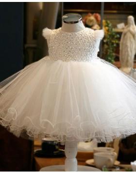 White Round Neckline Beading Bodice Tulle Flower Girl Dress with Cap Sleeves FG1050