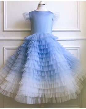 Ombre Tulle Ruffled Flower Girl Dress with Cap Sleeves FG1052