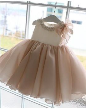 Light Pink Bateau Neckline Beading Pleated Flower Girl Dress FG1053