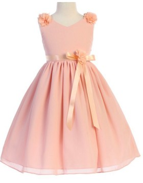 V-neck Coral Pink Pleated Flower Girl Dress with Sashes FG1054