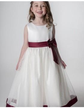 White & Burgundy Jewel Flower Girl Dress with Beading Skirt FG1055