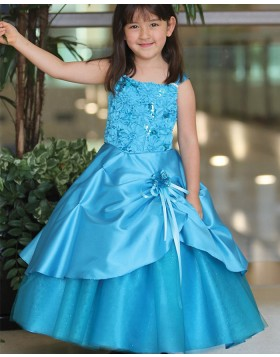 Square Navy Blue Satin Girls Pageant Dress with Handmade Flowers