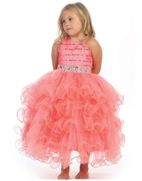 Pink Asymmetric Beading Ruffled Girls Pageant Dress