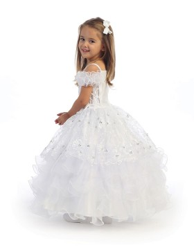 Cold Shoulder Beading White Ball Gown Girls Pageant Dress