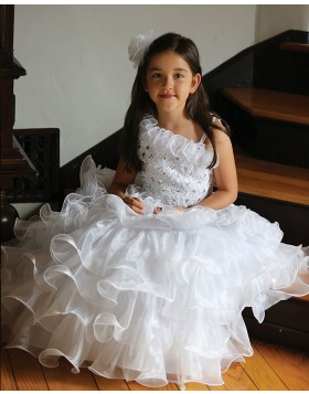 Ruffled White Asymmetric Beading Ball Gown Pageant Dress for Girls