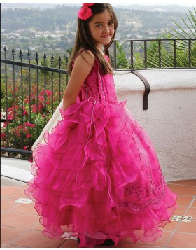 Double Spaghetti Straps Red Appliqued Ball Gown Pageant Dress for Girls