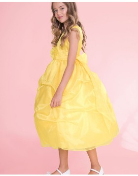 Round Neck Yellow Ball Gown Girls Pageant Dress with Bowknot