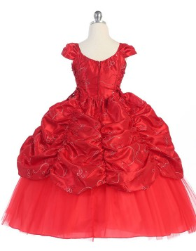 Scoop Red Ruffled Satin Ball Gown Pageant Dress for Girls with Cap Sleeves