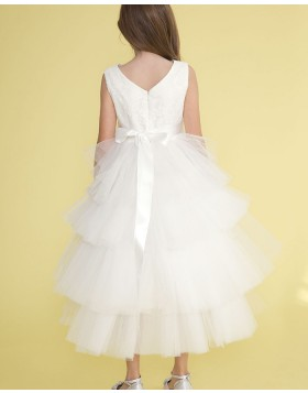 High Low White Pleated Tulle Girls Pageant Dress with Beading Belt