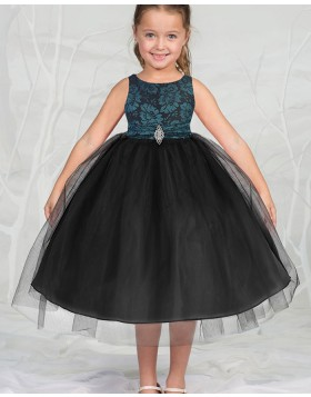 Round Neck Satin and Tulle Black Girls Pageant Dress