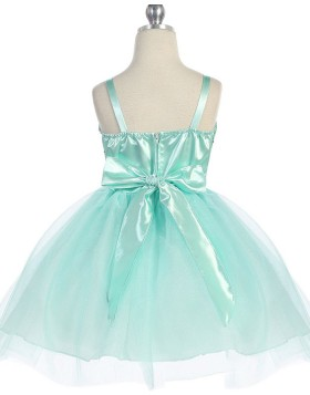 Square Mint Sequined Tulle Girls Pageant Dress with Belt