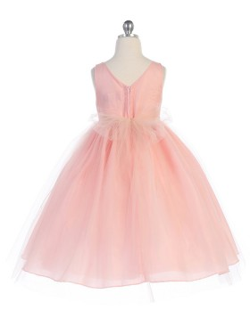 Scoop Neck Dusty Pink Tulle Ball Gown Pageant Dress with Beading Belt