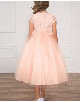 Round Neck Pink Lace Bodice Girls Pageant Dress with Short Sleeves