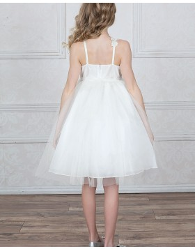 Square Ivory Appliqued Tulle Girls Pageant Dress