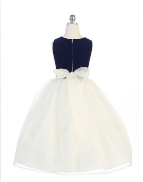 Black and White Simple Tulle Girls Dress with Bowknot