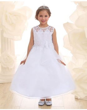 Jewel Sheer Lace Bodice White Prince Dress for Girls