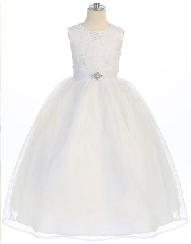Round Neck Ivory Beading and Sequin Bodice Girls Pageant Dress